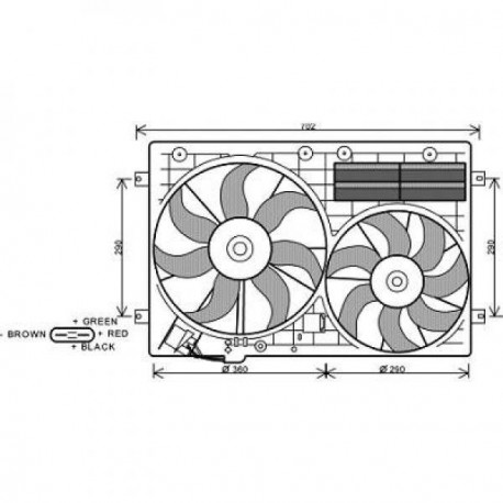 Ventilateur double VW+AUDi +AC03-10 360/295mm