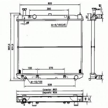 Radiateur eau TOYOTA HIACE02- 525x645x32