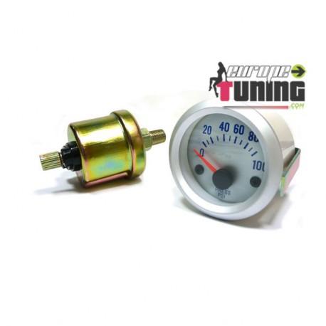 MANOMETRE 52mm Pression Huile SILVER (01118)