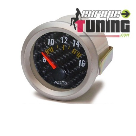 MANOMETRE CARBONE 52mm Voltmetre (01099)