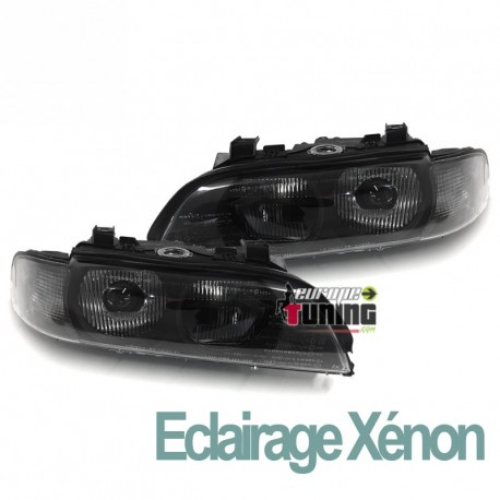 PHARES FEUX AVANTS FUMES NOIRS BMW SERIE 5 E39 PHASE 1 AU XENON (04754)