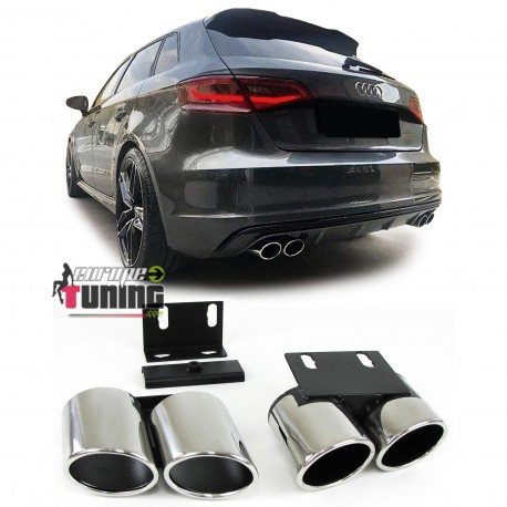 DOUBLES SORTIES SPORT DUPLEX INOX LOOK PACK RS3 POUR AUDI A3 8V 2012-2019 (05294)