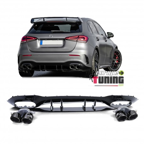DIFFUSEUR FULL BLACK SPORT AVEC DOUBLES SORTIES RONDES MERCEDES CLASSE A W177 PACK AMG (05478)